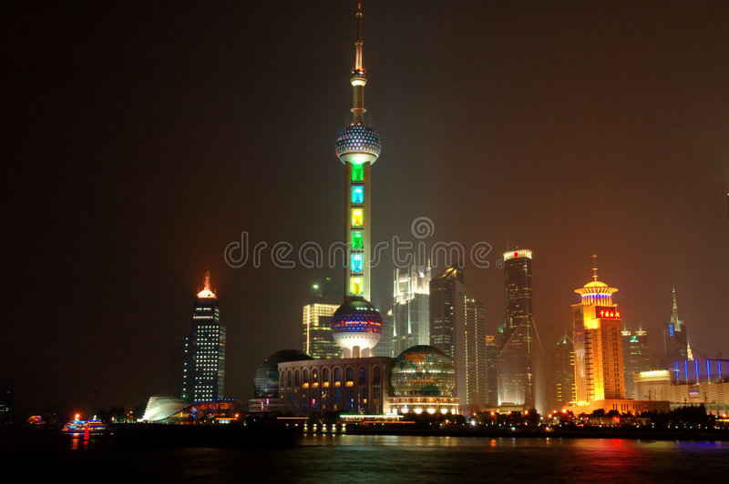 Panorama van Shanghai Pudong bij nacht royalty-vrije stock foto's