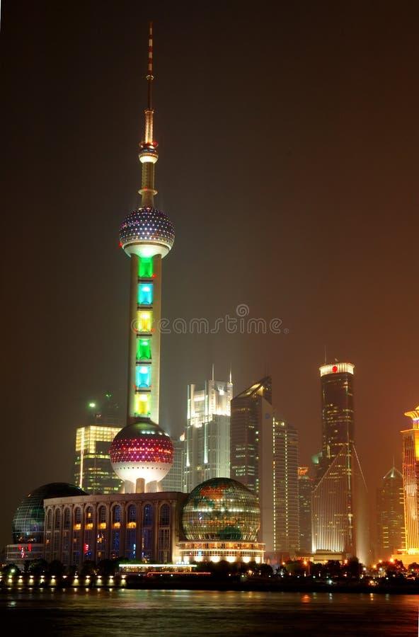 Panorama van Shanghai Pudong bij nacht royalty-vrije stock fotografie