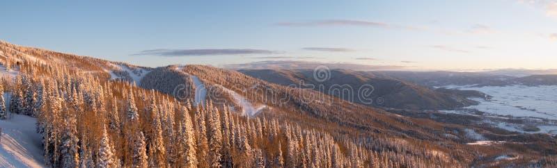 Panorama van skihellingen royalty-vrije stock afbeelding