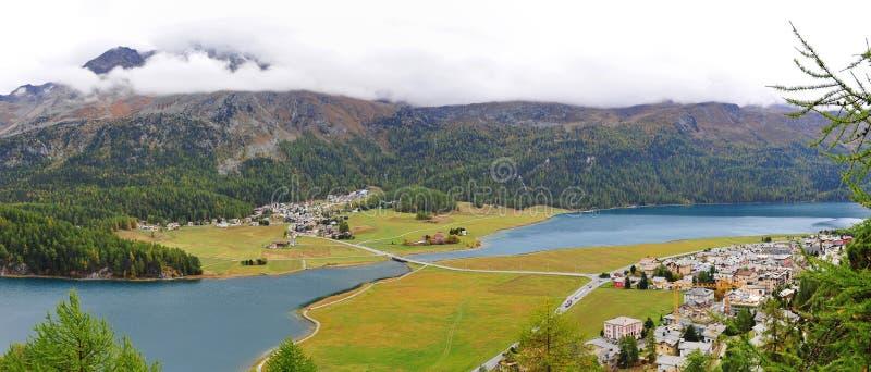 Panorama van St Moritz Valley in Zwitserland royalty-vrije stock foto's