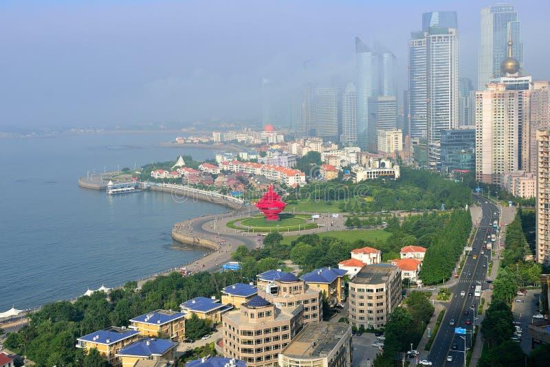 Panorama van Stad in qingdao stock foto
