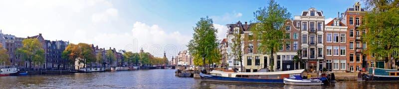 Panorama van stad toneel van Amsterdam Nederland stock fotografie