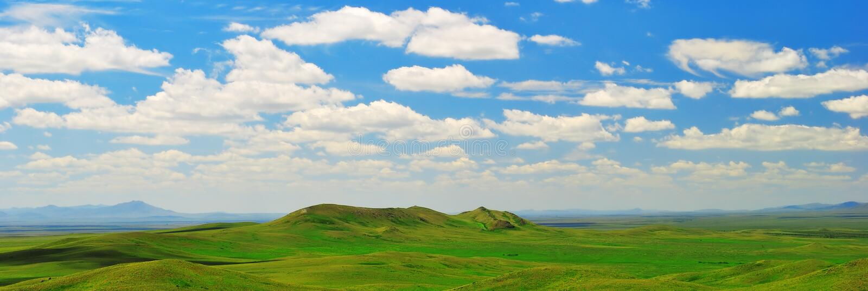 Panorama van steppe stock afbeelding