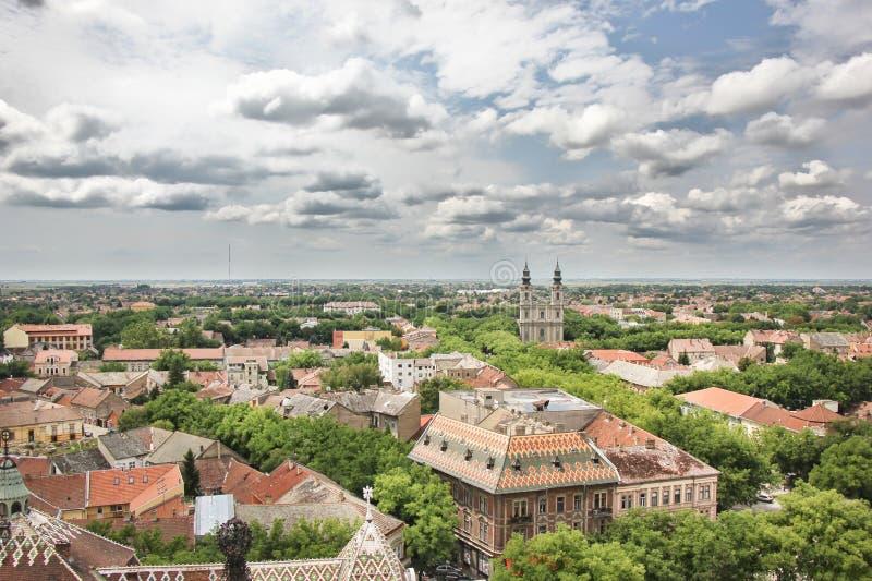 Panorama van Subotica stock afbeelding