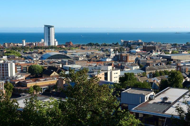 Panorama van Swansea, Wales, het UK stock afbeeldingen