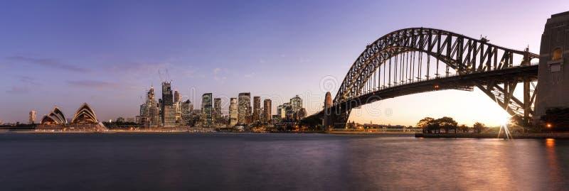 Panorama van Sydney de zonsondergang royalty-vrije stock fotografie