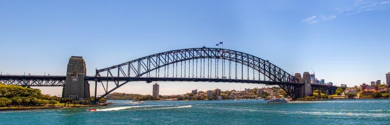Panorama van Sydney Harbour Bridge met een mooie blauwe hemel royalty-vrije stock afbeeldingen