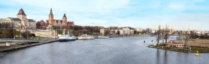 Panorama van Szczecin (Stettin), Polen. stock afbeeldingen