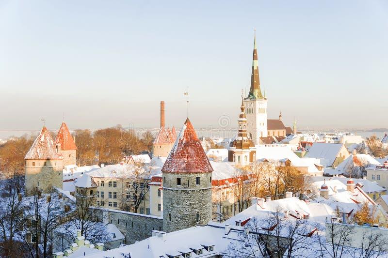 Panorama van Tallinn in een ijzige de winterochtend stock afbeelding