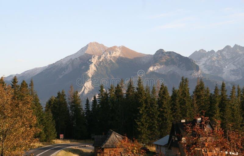 Panorama van Tatra-Bergen in Zuid-Polen royalty-vrije stock foto