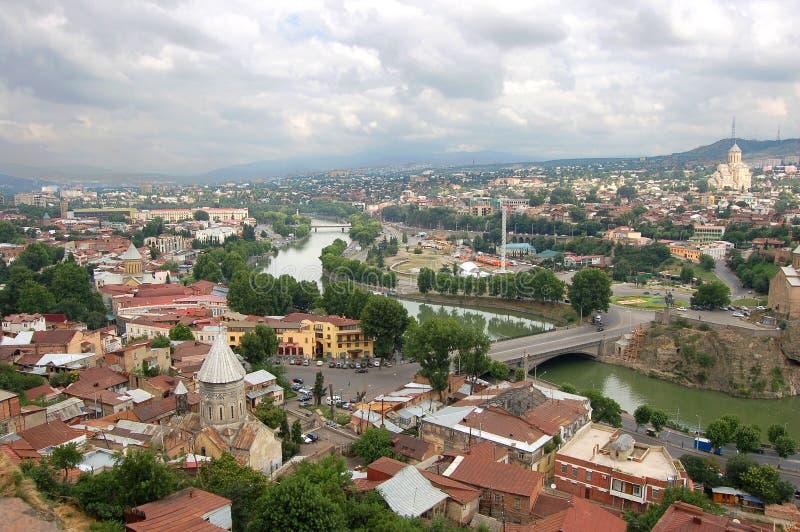 Panorama van Tbilisi stock afbeeldingen