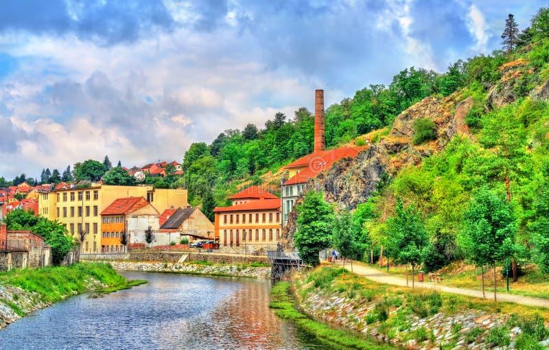 Panorama van Trebic, een Unesco-plaats van de werelderfenis in Tsjechische Republiek royalty-vrije stock afbeelding