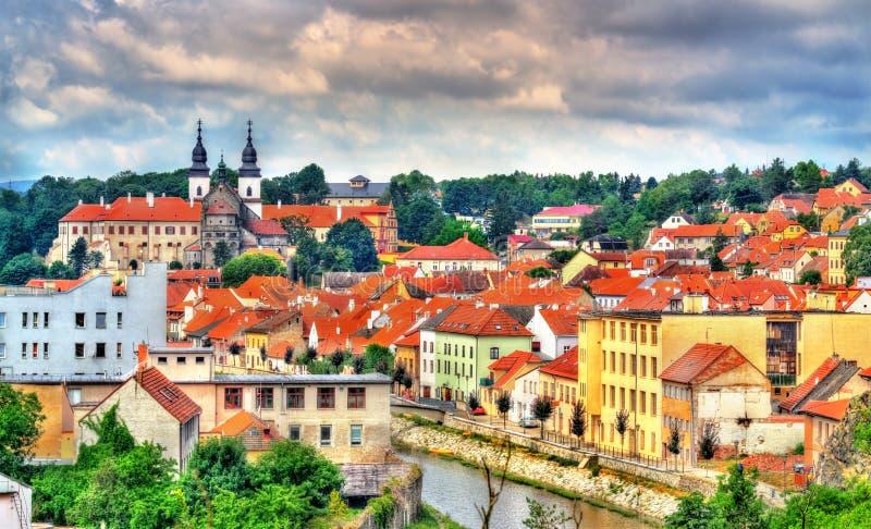 Panorama van Trebic, een Unesco-plaats van de werelderfenis in Tsjechische Republiek royalty-vrije stock afbeeldingen