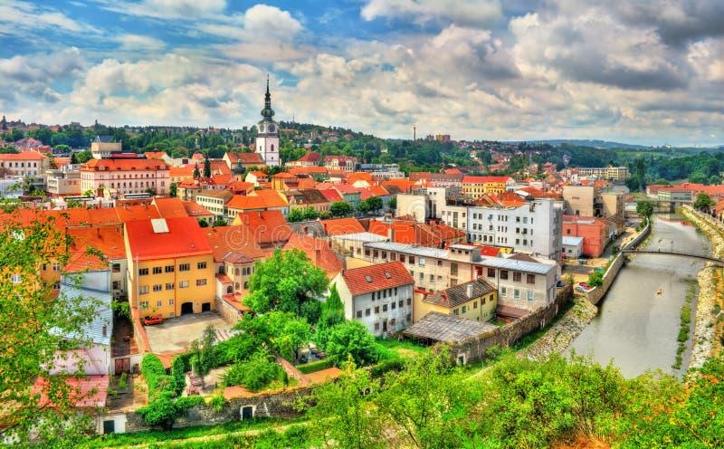 Panorama van Trebic, een Unesco-plaats van de werelderfenis in Tsjechische Republiek stock foto