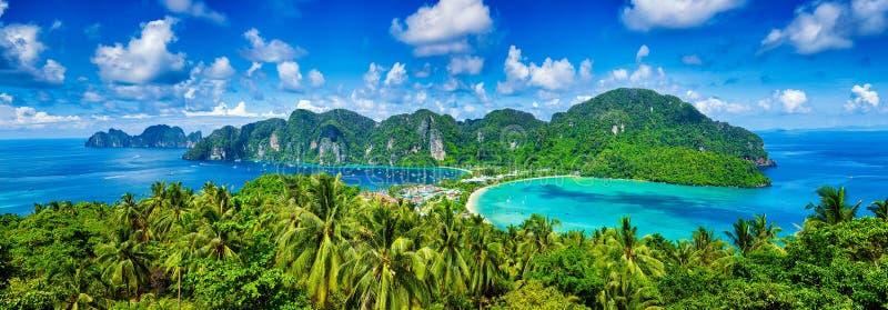 Panorama van tropische eilanden stock foto