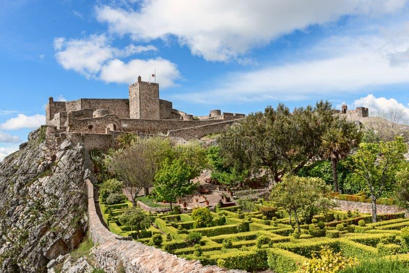Panorama van Tuinen en middeleeuws kasteel van Marvao, Portalegre, Alentejo Gebied, Portugal royalty-vrije stock foto