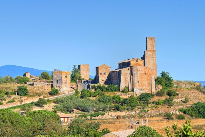 Panorama van Tuscania. Lazio. Italië. stock afbeelding