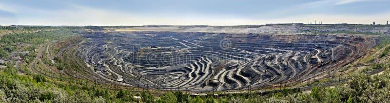 Panorama van van de ertsmijnbouw en verwerking onderneming stock foto's