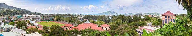 Panorama van Victoria-stad, hoofdstad van Seychellen, Mahe-eiland stock foto's