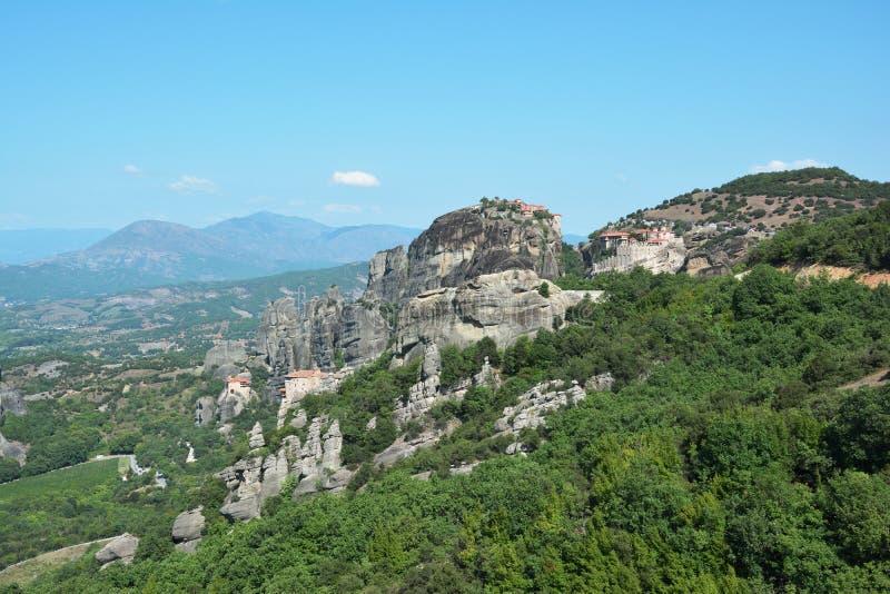 Panorama van vier heilige kloosters van Meteora royalty-vrije stock foto's