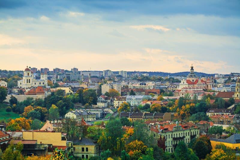 Panorama van Vilnius stock foto's