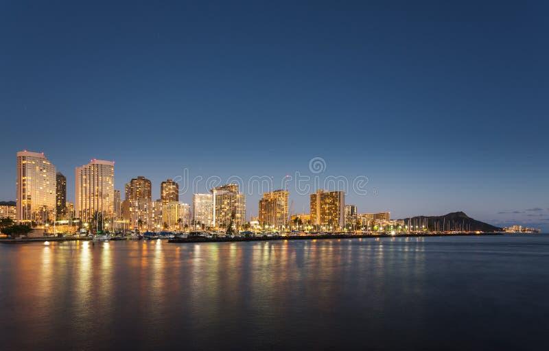 Panorama van Waikiki Honolulu Hawaï royalty-vrije stock afbeelding