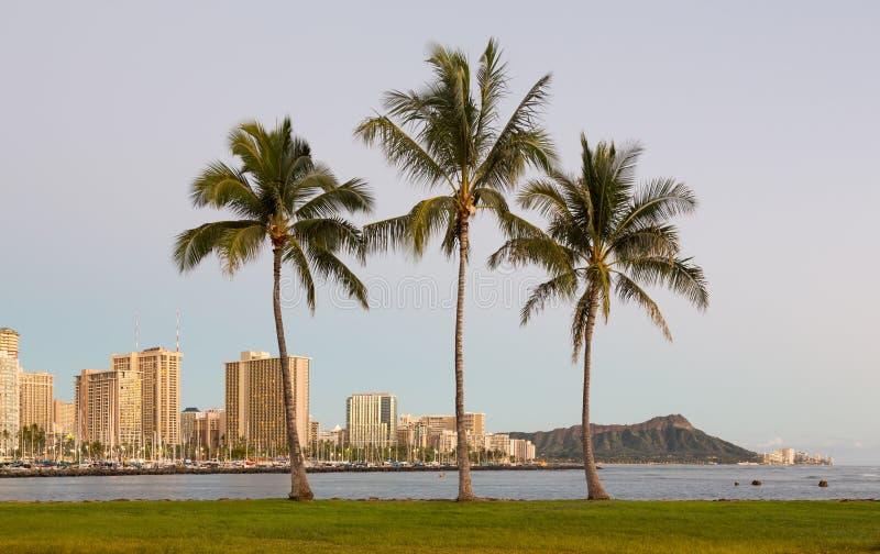 Panorama van Waikiki Honolulu Hawaï stock afbeeldingen