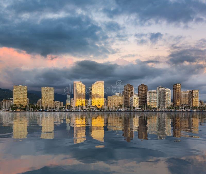 Panorama van Waikiki Honolulu Hawa? stock afbeelding