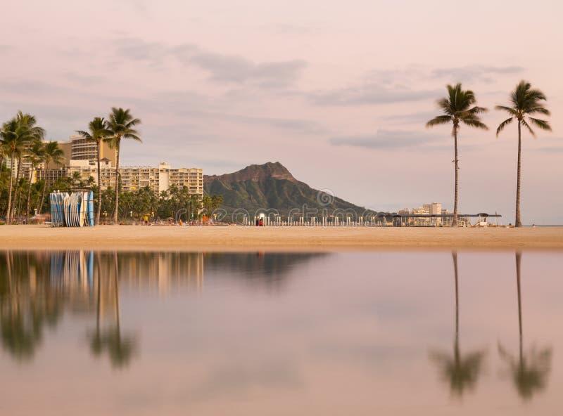 Panorama van Waikiki Oahu Hawaï stock fotografie