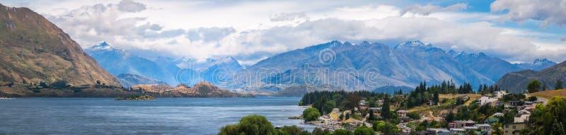 Panorama van Wanaka, Nieuw Zeeland stock afbeelding