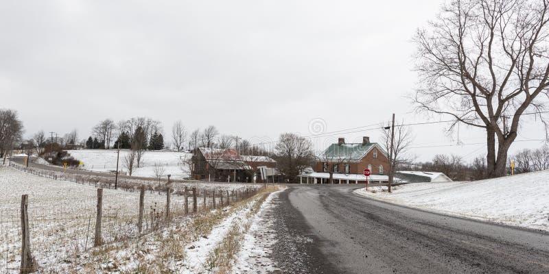 Panorama van wegen van de winter de landelijke Appalachia royalty-vrije stock afbeelding