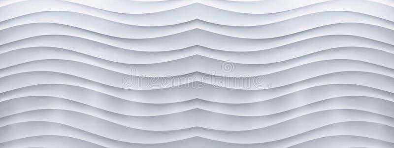 Panorama van witte concrete muur met een patroon van de golflijn stock afbeeldingen