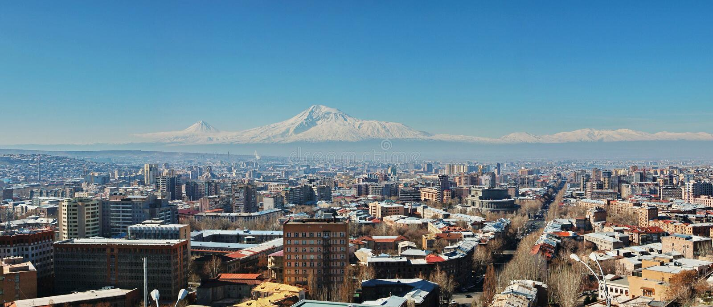 Panorama van Yerevan stad royalty-vrije stock foto