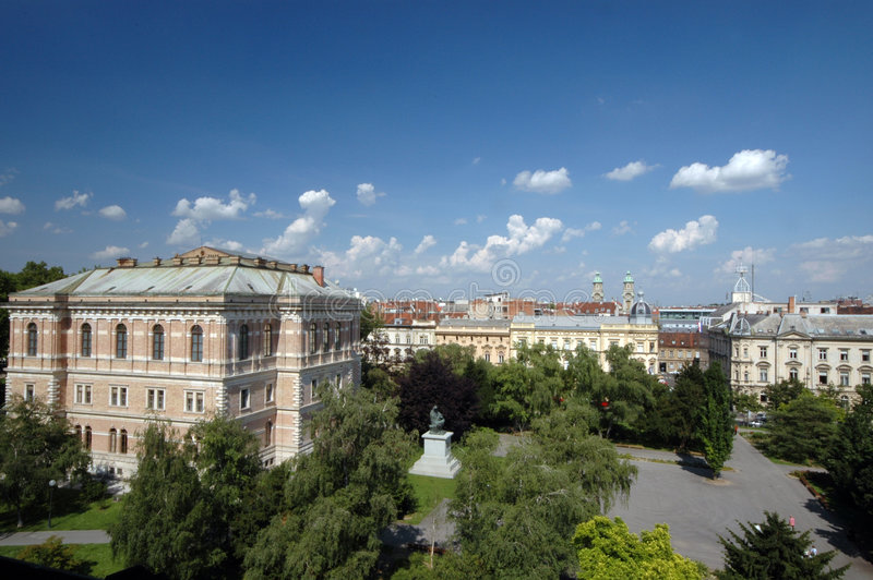 Panorama van Zagreb royalty-vrije stock afbeeldingen