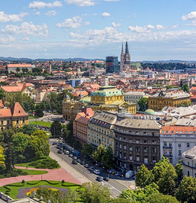 Panorama van Zagreb stock afbeelding