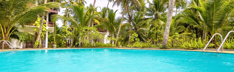 Panorama van zonnig tropisch hotel stock fotografie