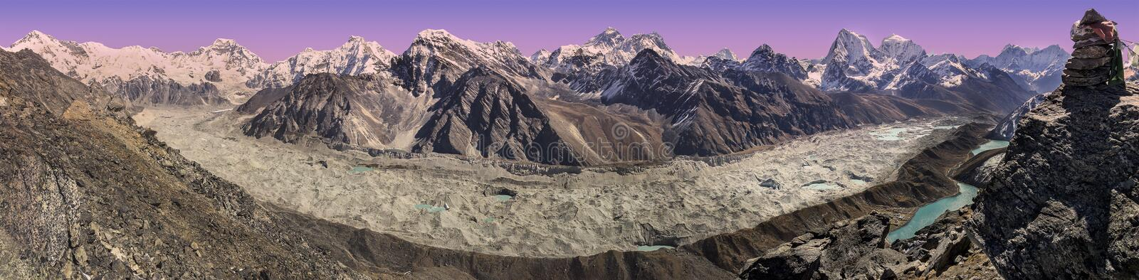 Panorama van zonsondergang over Everest-Bergketen, Nepal royalty-vrije stock foto