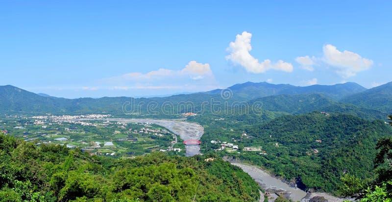 Panorama van Zuidelijk Taiwan stock afbeelding