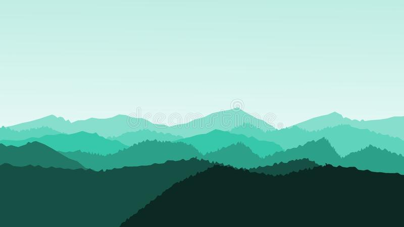 Panorama vector illustration of mountain ridges. Atmospheric perspective. Morning vector illustration