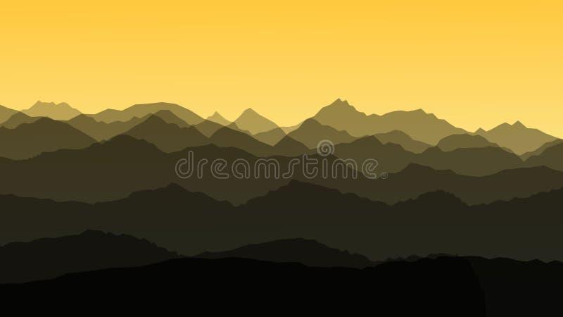 Panorama vector illustration of mountain ridges. Atmospheric perspective. Sunrise vector illustration