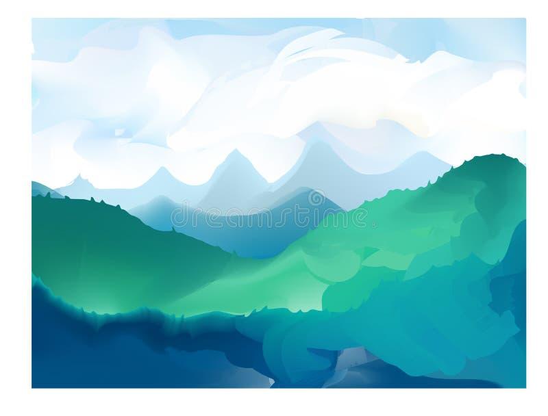 Panorama vectorillustratie van bergranden stock illustratie