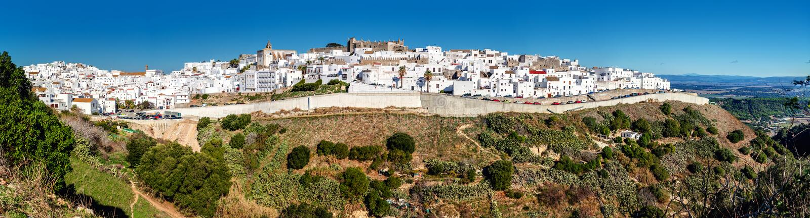 Panorama of Vejer de la Frontera. Costa de la Luz, Spain royalty free stock photo