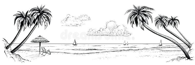 Panorama- vektorstrandsikt Illustrationen med gömma i handflatan och slags solskydd Svartvit handgjord teckning stock illustrationer