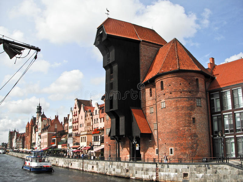 Panorama velho da cidade de Gdansk, Polônia fotografia de stock