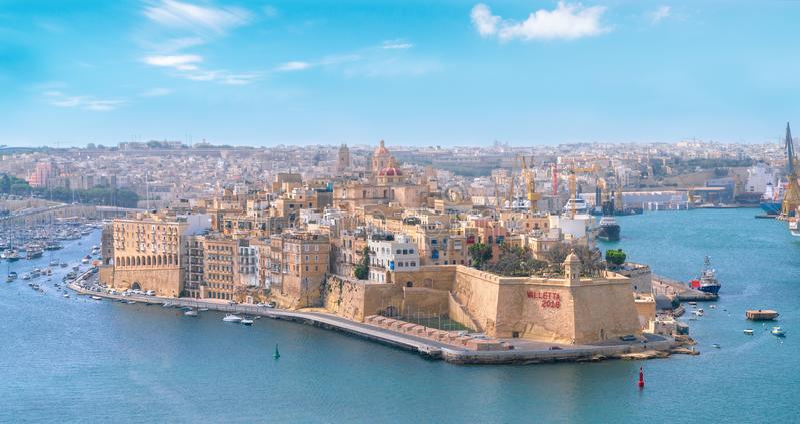 Panorama velho da cidade da cidade de Valletta imagens de stock