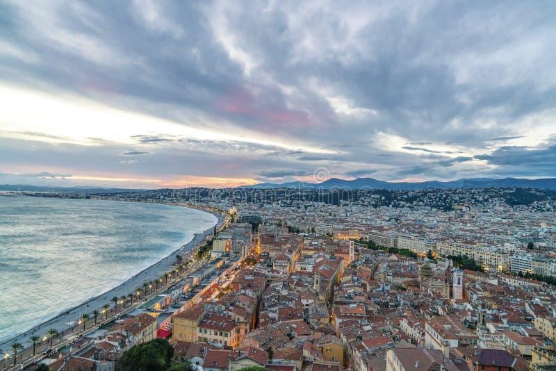 Panorama velho da cidade em agradável, França fotografia de stock