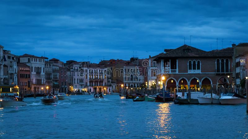 Panorama of Venice at night, Italy royalty free stock photo
