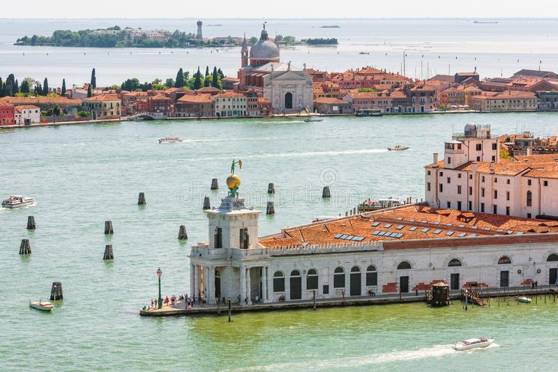 Panorama of Venice taken from above, Italy stock image