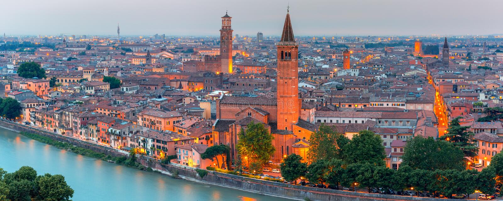 Panorama of Verona skyline at night, Italy royalty free stock photo