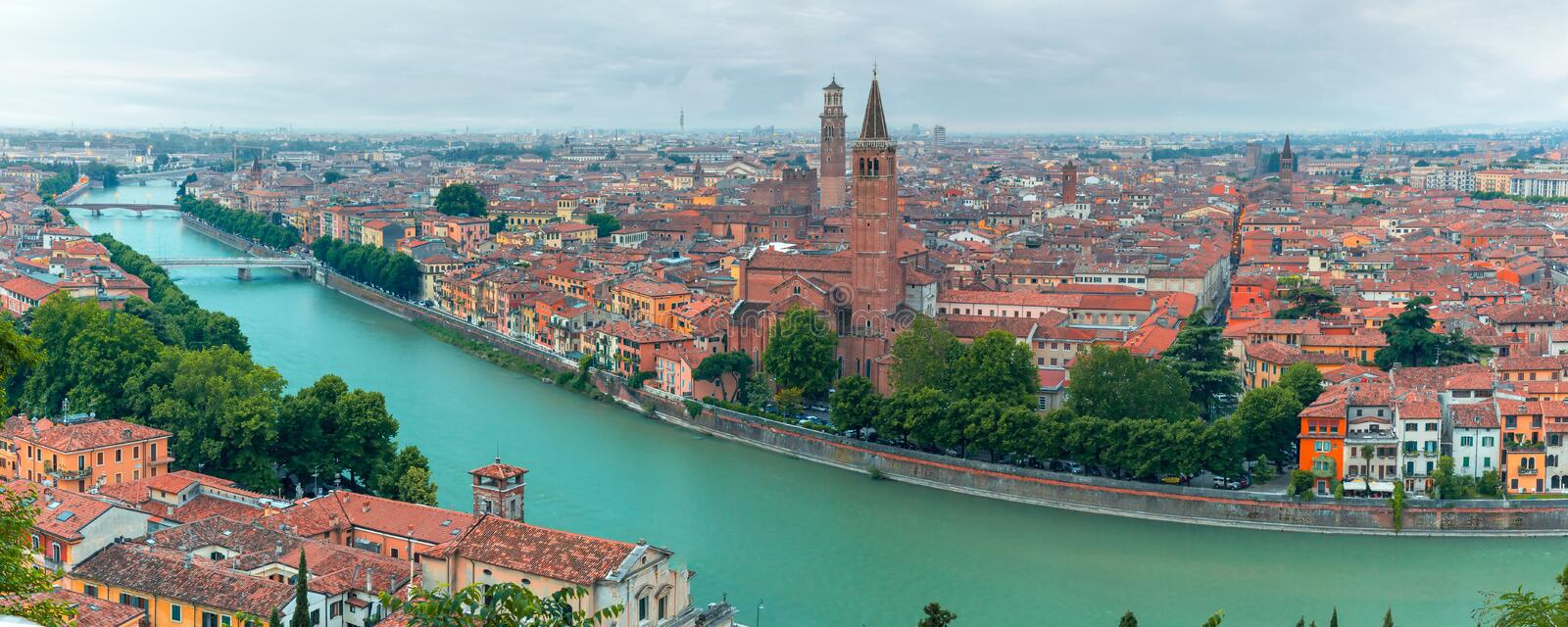 Panorama of Verona skyline at night, Italy stock images